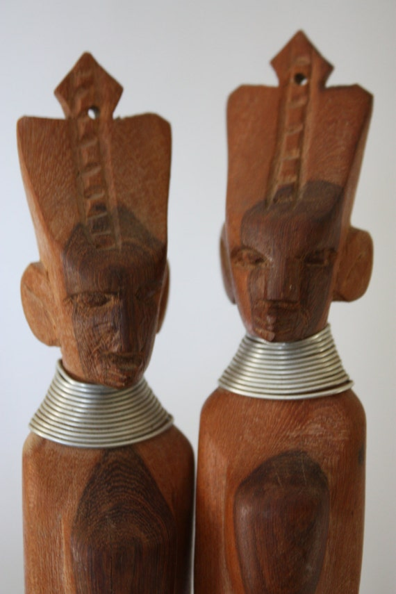 Sale vintage wooden african hand carved utensils