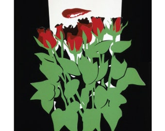"Poster Art, Serigraph, Roses - Screen Print 18x24"" - by Kiss a Cow"