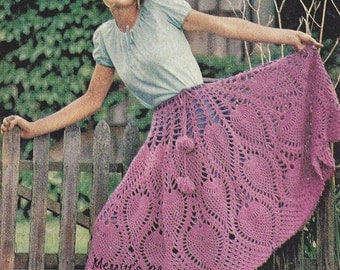 Flirty Romantic Skirt Poncho Combination, Vintage Crochet Pattern, INSTANT DOWNLOAD PDF Vintage