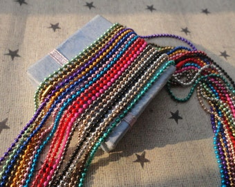 20pcs Mixed Colors Ball Chain Necklaces with connectors.. 27.5 inch Chain 1.5 mm--MN109