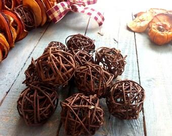 Twenty Brown Rustic Wicker Balls - Craft Supplies