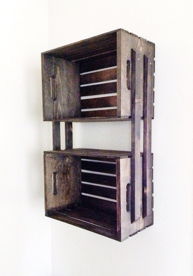 SALE Brown Wooden Crate Wall Hanging Shelving Unit Jamie