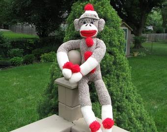 Classic Retro Sock Monkey Doll Handmade Brown BopBo the Monkey