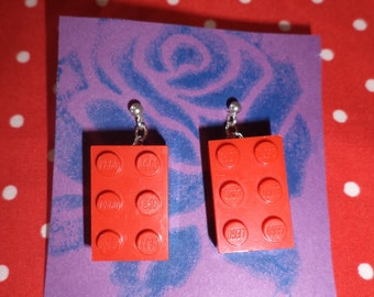 Stud Fastening Dangley Lego Earrings