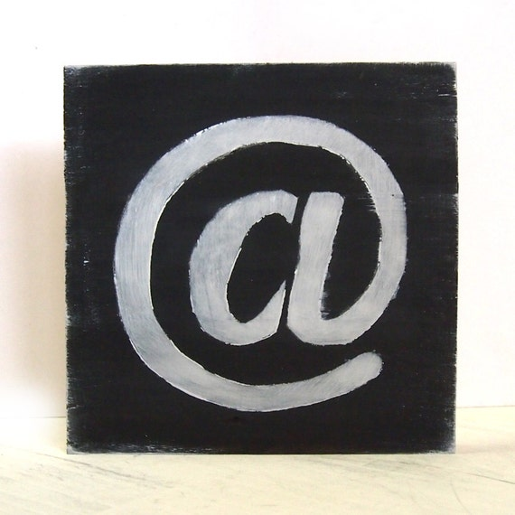 """Modern Symbol """"at"""" Hand Painted / Stencil Printmaking on Recycled ..."""
