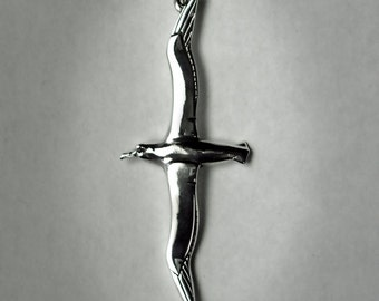 Albatross necklace , double sided solid silver pendant.