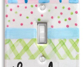 Personalized Light Switch Cover   Switch Plate    Baby Chevron   Personalized Baby Nursery  Kids Room