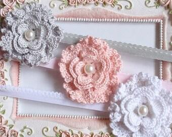 3 Headband With Crochet Flower  For Baby, Girl H-023-01