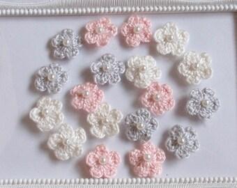 18 mini crochet flowers applique CH-032-01
