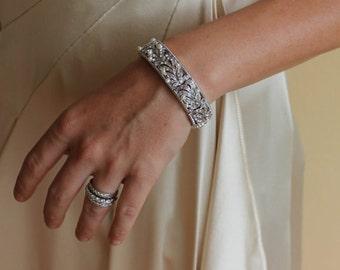 Crystal Bridal Bracelet, Wedding Cuff, Vintage Wedding Jewelry, Bridal Jewelry, Bridesmaids Bracelet. EDITH