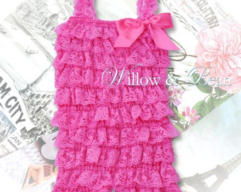 Bubblegum Pink Lace Petti Romper for Baby Girls and Toddlers...Ruffle Romper, Pink Lace Romper