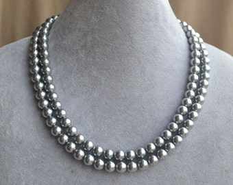 Grey Pearl Necklace,17-18 inch two strangs Pearl Necklace,Wedding Necklace,bridesmaid necklace,Glass Pearl Necklace,Gray Pearl Necklace,gray