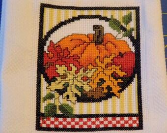 Fall Pumpkin Cross Stitch Towel