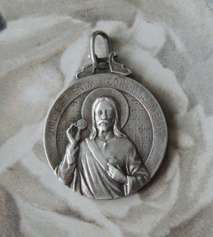 Vintage sacred heart medal Etsy