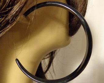 VINTAGE Earrings Black HOOP earrings 3 inch Hoop Earrings