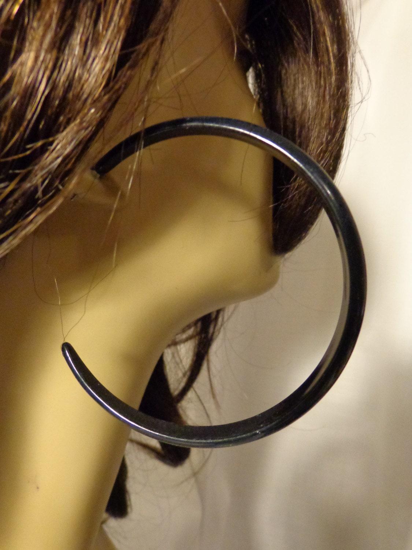 Vintage Hoop Earrings Black Hoop Earrings 3 Inch Pierced