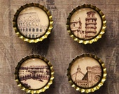 Set of Four Italy Buildings Bottlecap Magnets