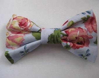 """Cute Floral Hair Bow w/ 2"""" Barrette"""