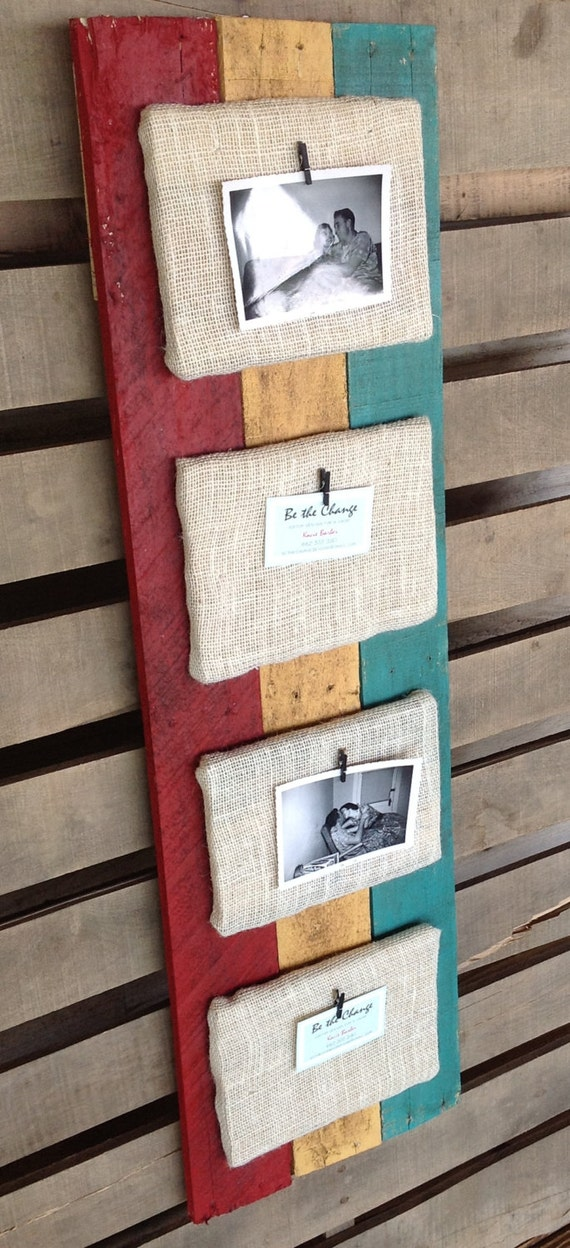 Items similar to Recycled Pallet Picture Frame Holder with Burlap ...