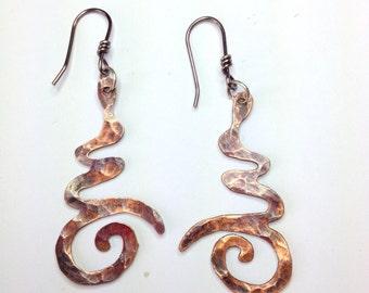 Copper Om symbol Earrings
