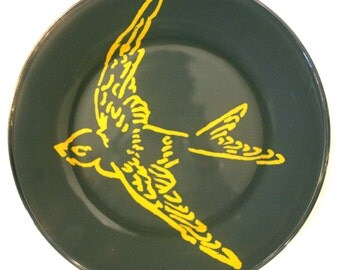 Gray Hand Painted Sparrow Plate