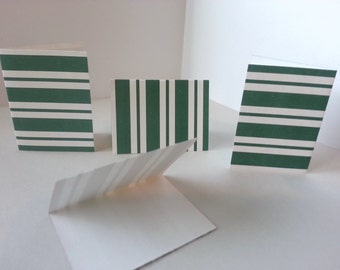 Set of 4 - Dark Green and White Stripes Folded Gift Tags