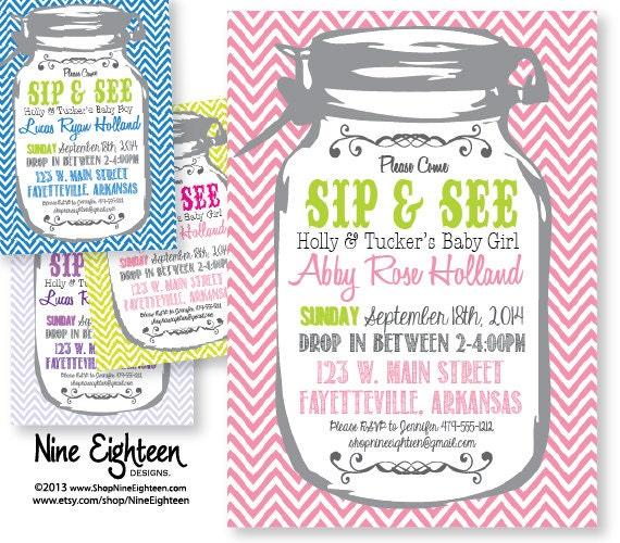 sip see baby shower invitation mason jar chevron theme printable