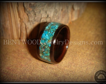 Bentwood Ring Macassar Ebony with Chrysocolla Inlay - Handcrafted custom wood ring both extremely durable and beautiful.