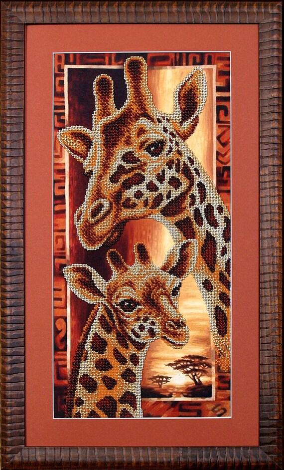 Africa Giraffes beaded stitching, beaded embroidery, beading on needlepoint kit, DIY beadpoint