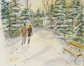 """This is a print of my original watercolor painting titles """" A walk with my Honey"""".  Available 5X7, 8X10, 11X14"""
