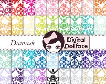 Bright Damask Digital Scrapbook Paper, floral printable decoupage paper pack