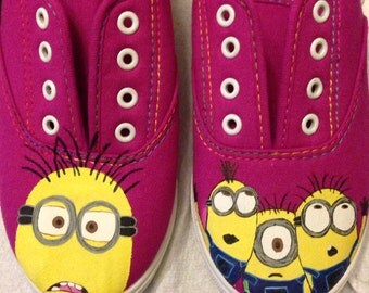 Hand painted minions shoes