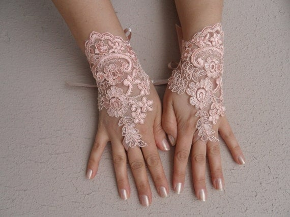 Peach wedding gloves, Soft peach pink Wedding gloves, bridal gloves, fingerless gloves, salmon, pink light, orange gloves, FREE SHIP