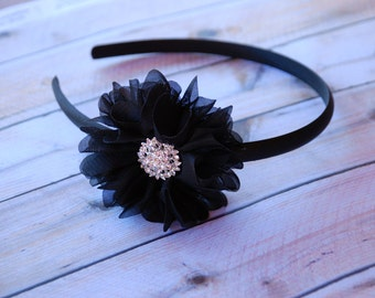 Black Headband, Baby Headband, Hard Headband, Polka dot headband, black and white, toddler headband, adult headband, teen headband