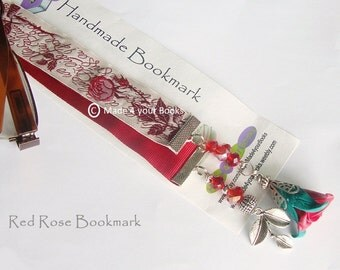 Red rose ribbon bookmark