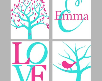BIRD NURSERY ART -  Turquoise Pink Nursery - Wall Art, Girl's Nursery Decor - Children Wall Art