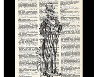 Uncle Sam Vintage Etching Vintage Dictionary Page Art