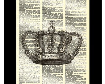 Vintage Crown Etching - Dictionary Art Print