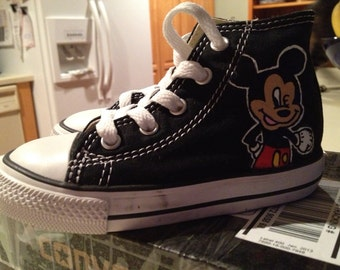 Custom Hand Painted Mickey Shoes-Personalized to any design, college, or character(s) you want, on any type of canvas shoes