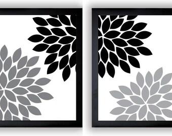 Flower Print Black White Grey Gray Chrysanthemum Flowers Art Print Set Of 2 Wall Decor Modern