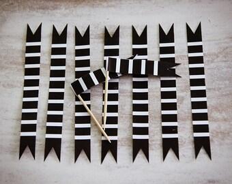 printable black and white striped straw flag cake pop flag toothpick flag DIY print yourself girl boy b&w bw