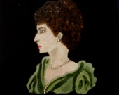 English lady in green early 1900s. Original acrylic miniature painting on canvas board. Pearl necklace with formal gown.