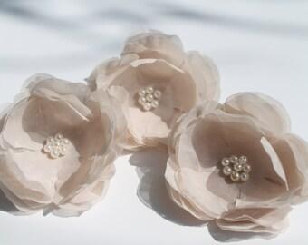Bridal Set of 3 Blush Flower Hair Fascinator, Flower Hair Clip, Bridal Accessories, Wedding Flower