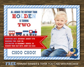 Train Birthday Invitation - Printable - FREE pennant banner and thank you card with purchase