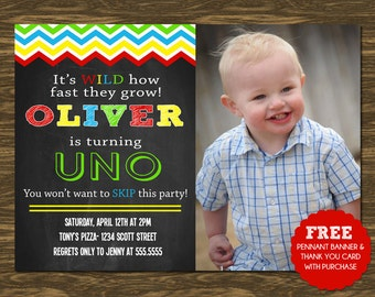UNO Birthday Invitation - Printable - FREE pennant banner and thank you card with purchase