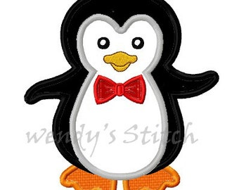 Mr penguin applique machine embroidery design digital pattern