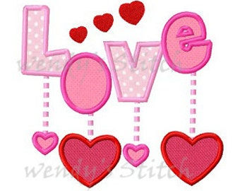 Love with hearts applique machine embroidery design digital pattern