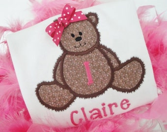 Appliqued Teddy Bear Shirt... Personalized ..Long or Short Sleeve