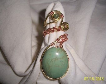 Magnesite, Brass and Copper Wire Wrapped Adjustable Ring