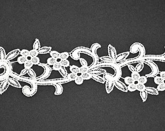 Venise Flower Lace Ribbon Trim for bridal, apparel, home décor,  2-1/4 Inch by 1 Yard, White, ROI-1924